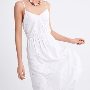 ZARA linen dress with cutwork embroidery